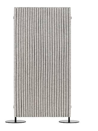 Hey-Sign Welle Paravent 160x80cm - grau hellmeliert/Filz in 5mm Stärke/BxH 80x160cm/Metallrahmen und Füße schwarz