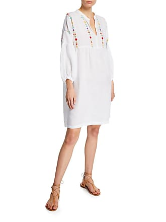 120% Lino Floral-Embroidered 3/4-Sleeve Dress