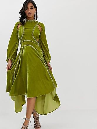 b23265bb585d Asos midi dress in velvet with rhinestone trim - Green