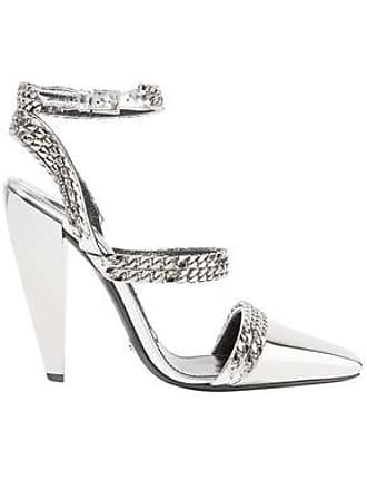 8781fe6c13 Tom Ford Tom Ford Woman Chain-embellished Mirrored-leather Pumps Silver Size  36.5
