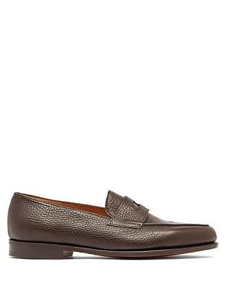 1a07de97581 John Lobb Lopez Grained Leather Penny Loafers - Mens - Brown