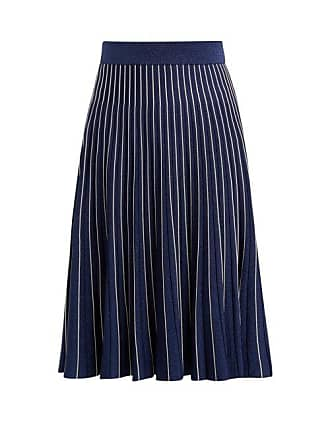 Jonathan Simkhai Mid Rise Pleated Midi Skirt - Womens - Navy Silver