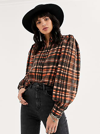 Object puff sleeve mesh shirt in check print-Multi