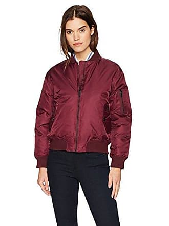 William Rast Womens Aviator Bomber Jacket, Cranberry, M