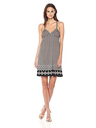 Max Studio Womens Cross Back Strappy Matte Jersey Dress, Black/Evening Sand Multi Hexagon Grad PNL X-Small