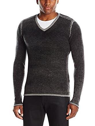 John Varvatos Mens V-Neck Sweater, Black, Small
