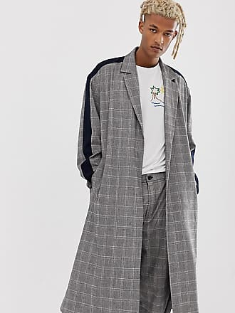 ac8f653d6fc3d Asos ASOS Made In Kenya check duster overcoat with side stripe