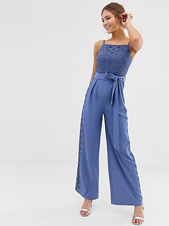bc094bd195 all over sequin wide leg jumpsuit in black. Delivery: free. Little Mistress  square neck jumpsuit with lace leg inserts in blue