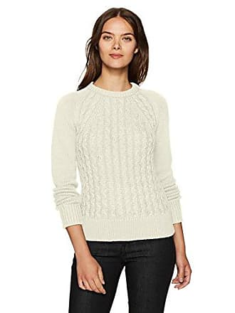 Pendleton Womens Contrast Cable Cotton/Cashmere Sweater, Ivory, M