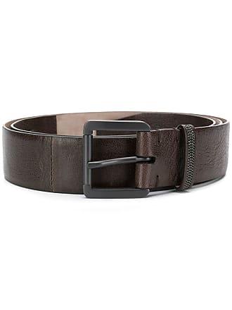 Brunello Cucinelli metal buckle leather belt - Marrom