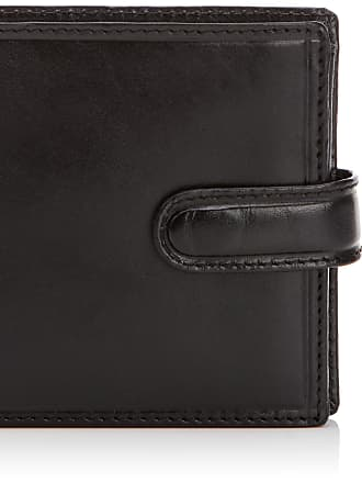 Visconti Mens LUXURY Italian LEATHER Tabbed WALLET by Visconti; Monza Collection GIFT BOXED (Black)