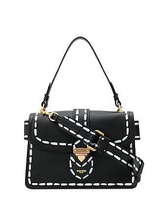 Moschino printed stitching shoulder bag - Black