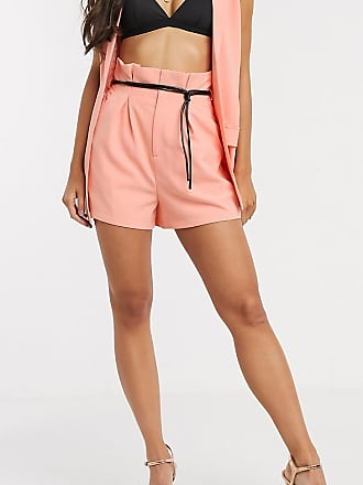 4th + Reckless Tall exclusive high waist short with contrast belt in coral-Orange