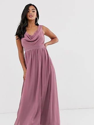 Little Mistress Petite cowl neck tulle maxi dress-Pink