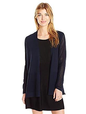 Jones New York Womens Mesh Sleeve Sweater Cardi, Navy S