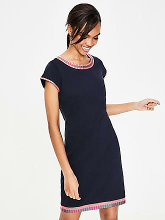 Boden Sena Embroidered Jersey Dress Navy Women Boden