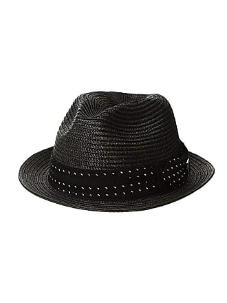 28c1d5947334 Stacy Adams Poly Braid Pinch Front Fedora with Fancy Bow (Black) Caps