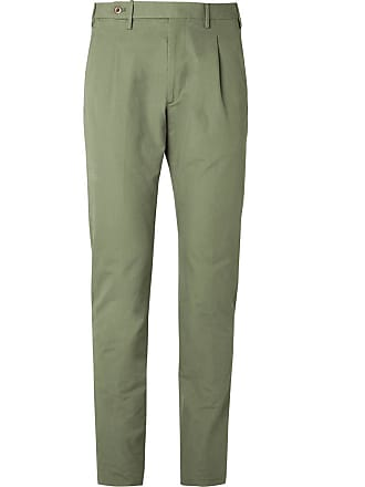 Zanella Slim-fit Pleated Washed-cotton Trousers - Green