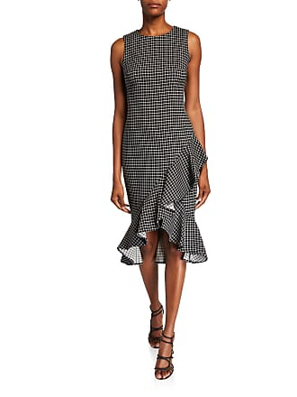 Iconic American Designer Menswear Plaid Ruffle Midi Dress