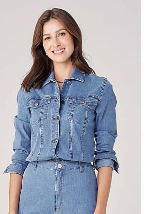 Dzarm Jaqueta Feminina Em Jeans Cotelê - Azul