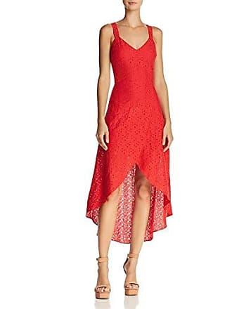 J.O.A. JOA Womens LACE V Neck Sleeveless Tulip Hem Open Back Dress, red, L