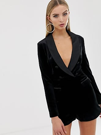 8b98b9d080 Lavish Alice soft velvet and satin mix tailored playsuit