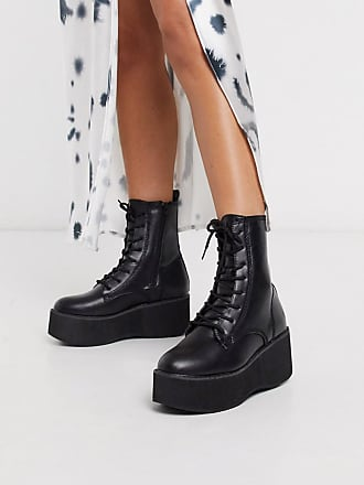 Truffle chunky lace up ankle boot in black
