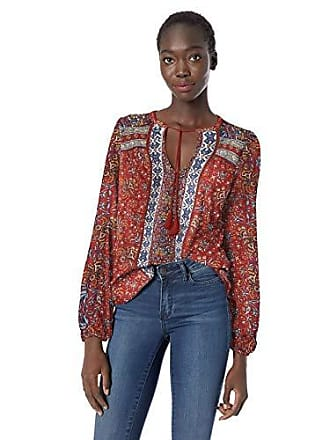 Lucky Brand Womens Printed Peasant TOP, red/Multi XS