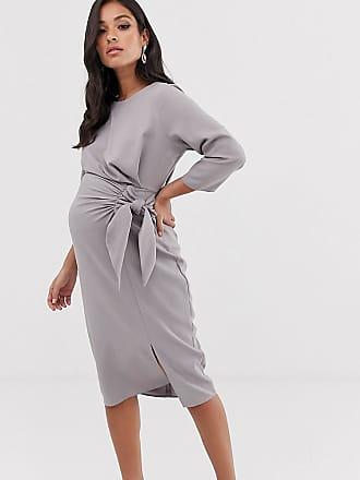b33dcef0 Asos Maternity ASOS DESIGN Maternity wrap detail midi dress - Gray