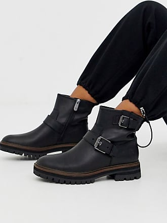Timberland London Square black leather full grain flat hiker boots