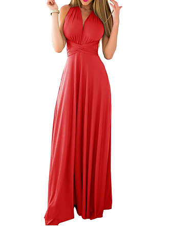 bfa88ef7e7f43 Emma Womens Sexy V-Neck Ruffles Evening Dress Convertible Wrap Backless  Cocktail Prom Dress Bandage