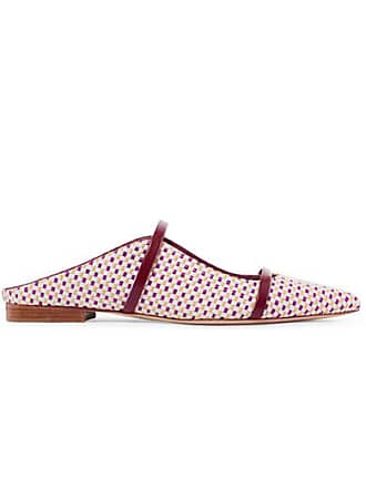 Malone Souliers Maureen Leather-trimmed Woven Raffia Point-toe Flats - Yellow
