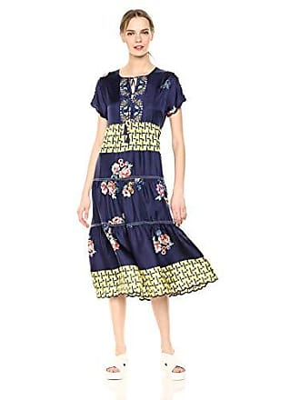 Johnny Was Womens Short Sleeve Midi Dress with Embroidered Trim, Multi, XL