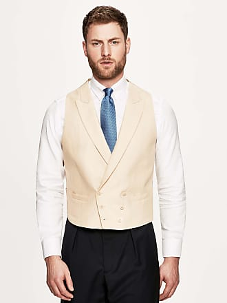 Hackett Mens Linen Double-Breasted Waistcoat | Size 44Regular | Buff Cream