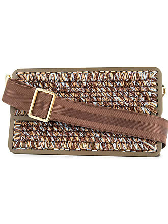 0711 St. Tropez woven clutch bag - Brown