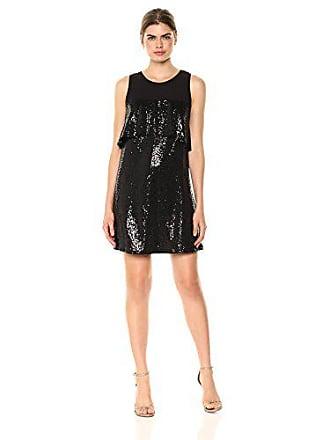72f7c392 Kensie Womens Sequin Sleeveless Ruffle Dress, Black, XL