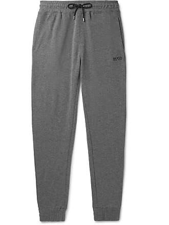 c90d6e44 HUGO BOSS Tapered Mélange Cotton-blend Drawstring Sweatpants - Charcoal