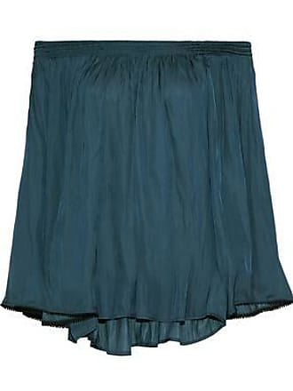 Halston Heritage Halston Heritage Woman Off-the-shoulder Shirred Charmeuse Top Storm Blue Size XS