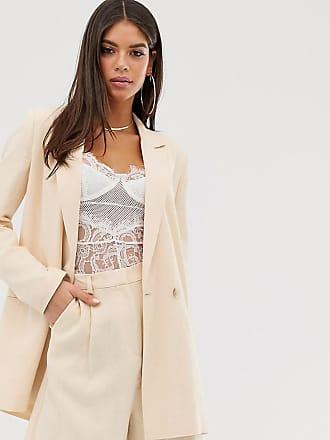 23d9a7531e Asos Tall Americana de traje en lino tono nata de ASOS DESIGN Tall
