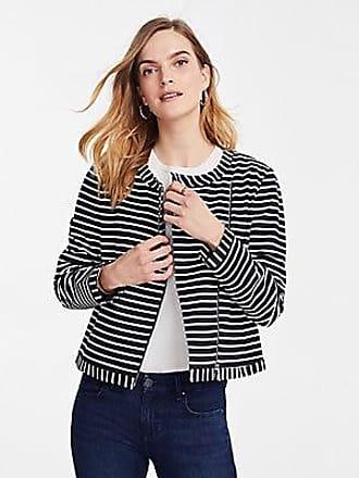 ANN TAYLOR Petite Striped Ponte Moto Jacket