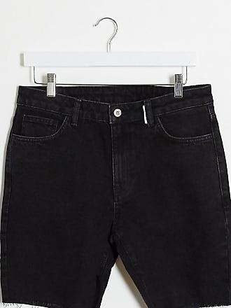 Collusion denim shorts with raw hem in black