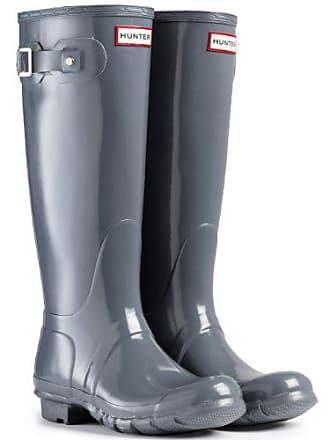 Hunter Original Tall Gloss Damen Fest Gummistiefel Wellington Boots - Grau  - 36 21497a7e08