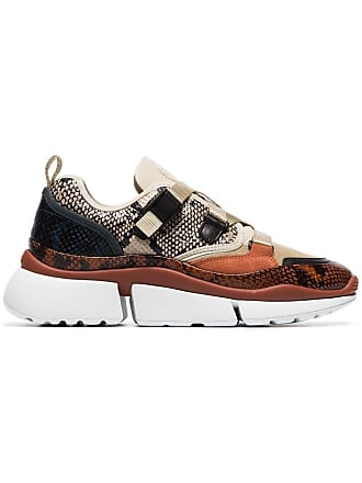 Chloé multicoloured sonnie snake print canvas and suede leather sneakers - Neutrals