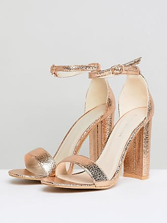 8c5ce319e71e Glamorous Rose Gold Barely There Block Heeled Sandals - Gold