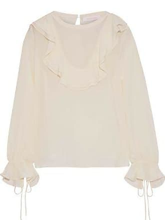 See By Chloé See By Chloé Woman Ruffled Silk Crepe De Chine Blouse Cream Size 38