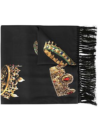Dolce & Gabbana crown print scarf - Preto