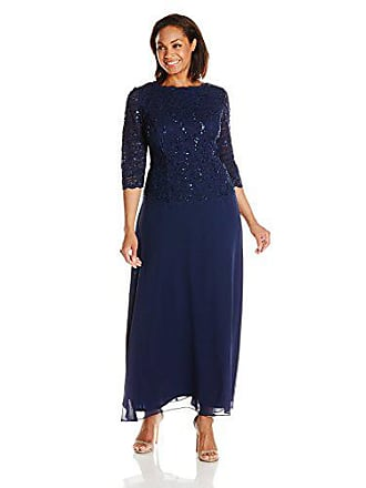 f11eb019f16 Alex Evenings Womens 18W Plus Size Long Tea-Length Lace Mock Dress