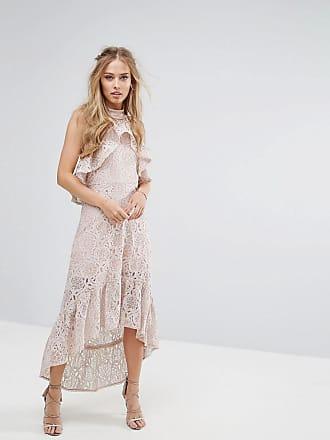 Foxiedox Halter Neck Lace Hi-Low Dress - Pink