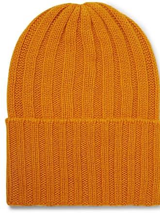 The Elder Statesman Short Bunny Echo Ribbed Cashmere Beanie - Orange