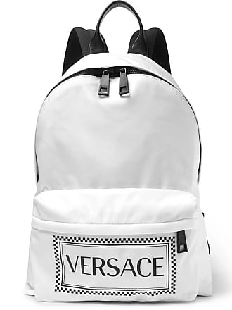 Versace Leather-trimmed And Logo-printed Shell Backpack - White